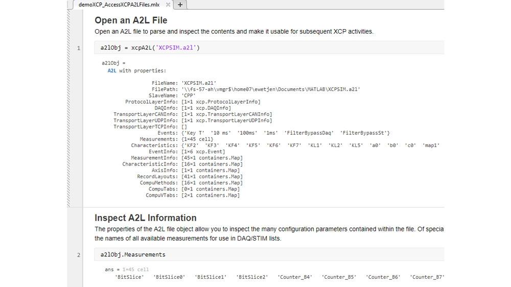 Codebeispiel, das zeigt, wie auf in A2L-Dateien gespeicherte Informationen zur Verwendung mit XCP-Verbindungen zugegriffen werden kann. Es verwendet einen frei verfügbaren XCP-Slave-Simulator von Vector und Vector Virtual CAN-Kanälen.