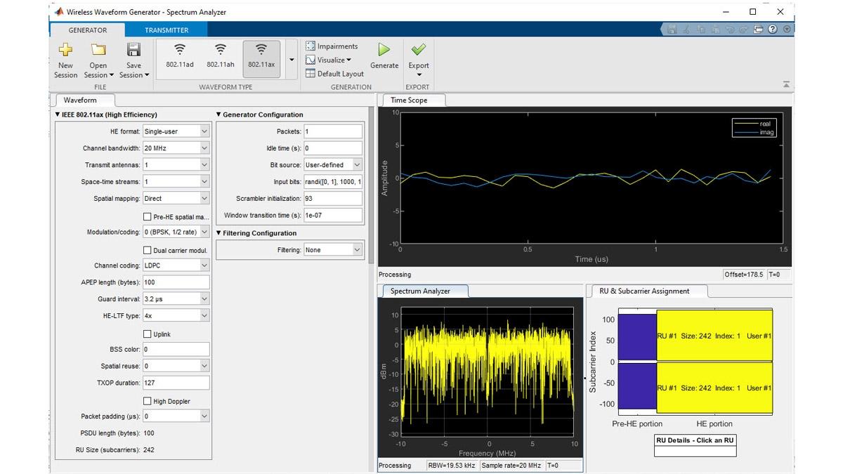 802.11ax-Wellenform-Generierung mit der Wireless-Waveform-Generator-App.