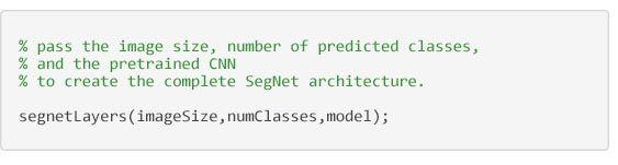 Semantische Segmentierung – Code zum Erstellen der der SegNet-Architektur