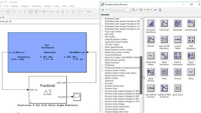 Entwerfen und simulieren Sie Analog- und Mischsignalsysteme wie ADCs und PLLs mit dem Mixed-Signal Blockset.