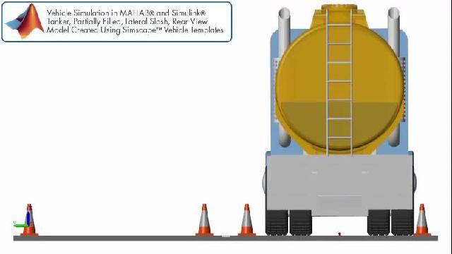 Fahrzeugsimulation mit seitlichen Schwankungen in einem Tankwagenanhänger, hintere Ansicht.