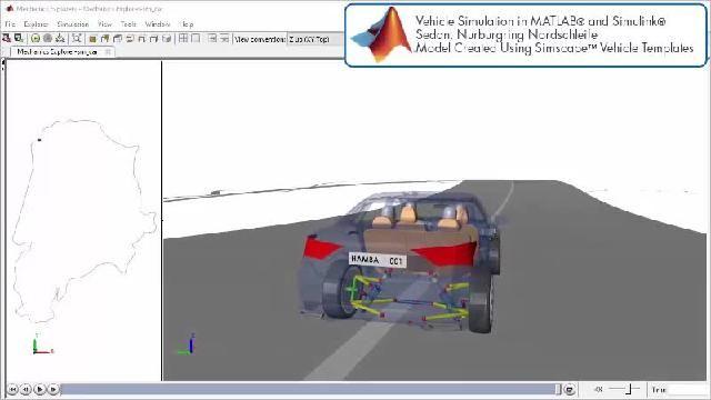 Sehen Sie sich eine Animation an, die eine Rennstrecken-Simulation mit Simscape zeigt.