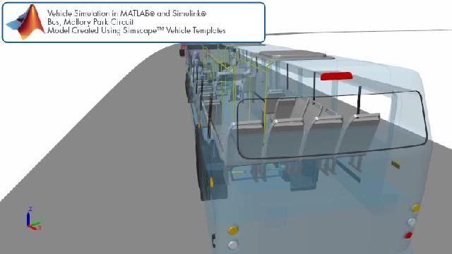 Sehen Sie sich eine Animation an, die eine Simscape Bus-Simulation auf einer Rennstrecke zeigt.