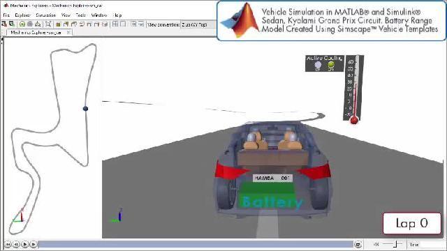 Sehen Sie sich eine Animation an, die die Entwicklung eines Antriebes mit Simscape simuliert.