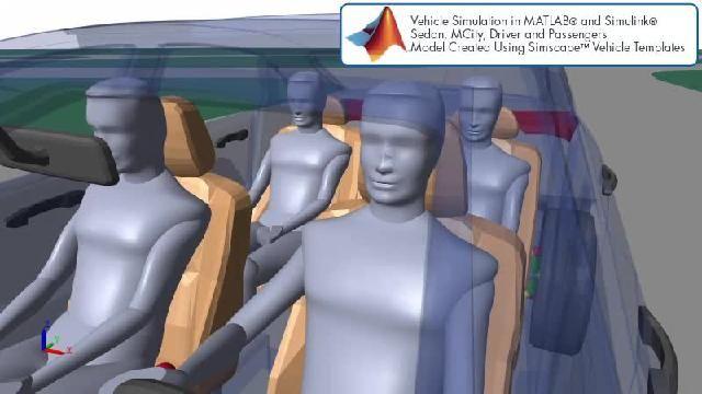 Sehen Sie sich eine Animation an, die eine Simulation des automatisierten Fahrens mit Simscape zeigt.