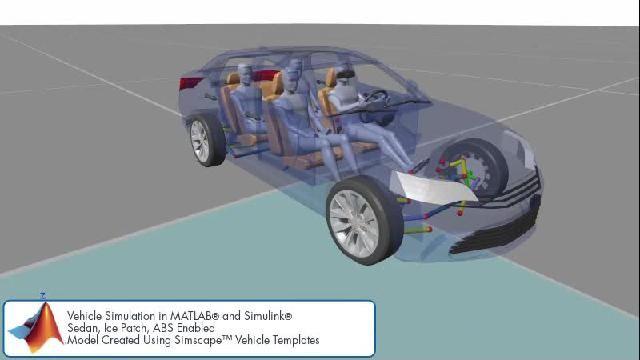 Sehen Sie sich eine Animation an, die eine Karosserie-Steuerelemente-Simulation mit Simscape zeigt.