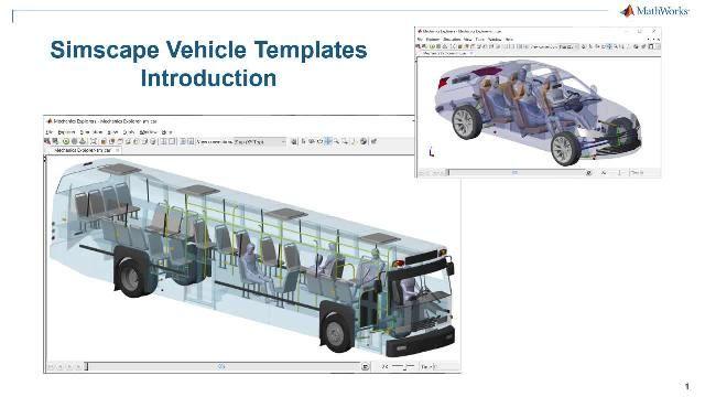 Sehen Sie sich eine Einführung in Simscape Fahrzeugvorlagen an. Die Vorlagen bieten ein konfigurierbares Modell des Fahrzeugs, eine Bibliothek individuell erstellbarer Komponenten und eine Benutzeroberfläche, die Sie zur Individualisierung des Fahrzeugs und eines auszuführenden Ereignisses nutzen können.