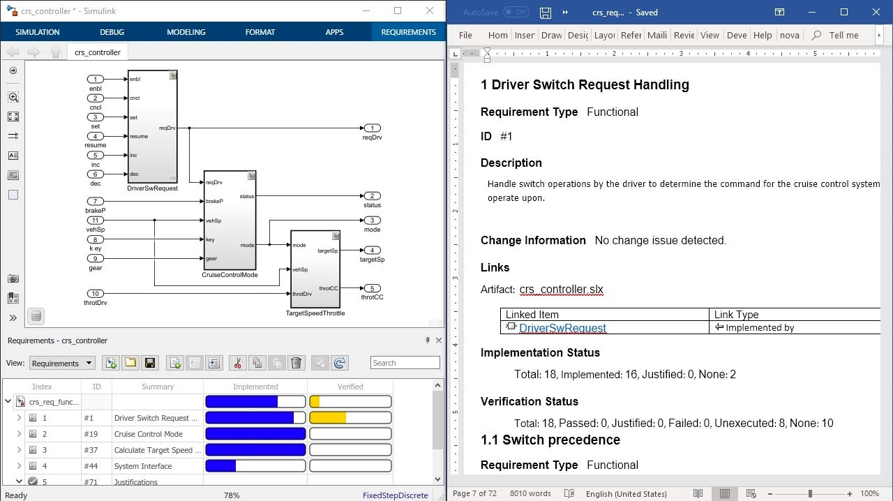 Dokumentieren Sie Ihre Prüfanforderungen anhand von Berichten aus Simulink Requirements und schließen Sie Ihre Anforderungsattribute, Status und Rückverfolgung zu Entwurf, Code und Text mit ein.