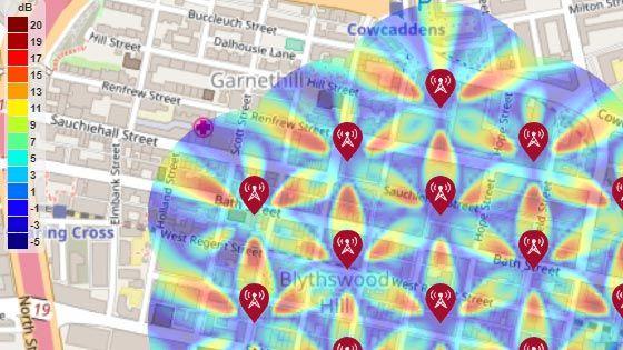 SINR-Karte für eine 5G-Testumgebung für städtische Makrozellen