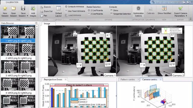 Perform all the essential tasks to calibrate a camera with standard, fisheye, or stereo lens using MATLAB.