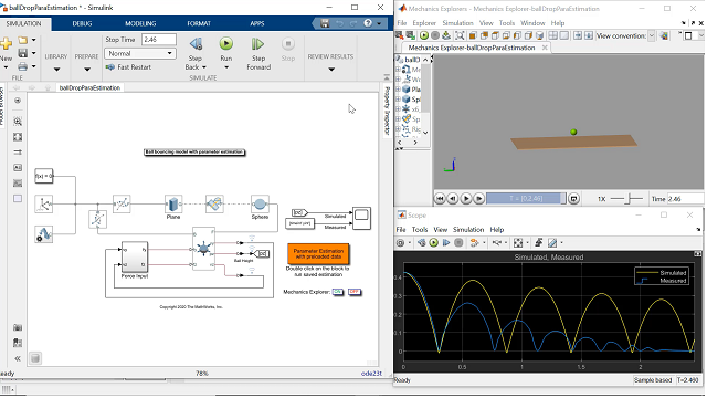 This video shows a workflow to find the optimal contact parameters that can simulate the realistic behavior of a bouncing or colliding ball using Simscape Multibody.