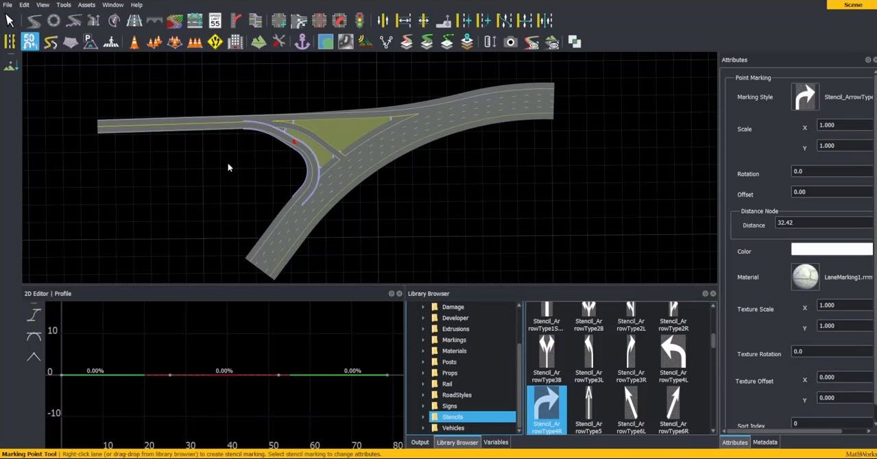 Demonstration of creating complex junctions in RoadRunner interactive editor.