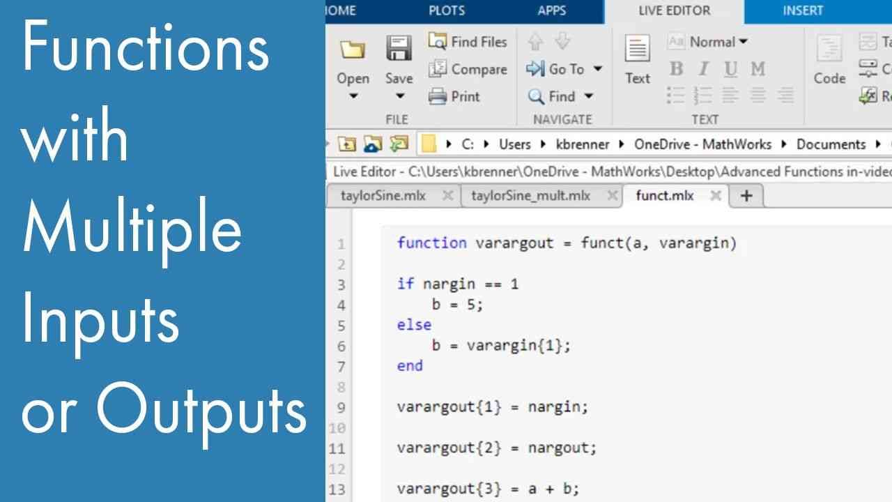 Learn how to create MATLAB Functions with multiple inputs or multiple outputs.