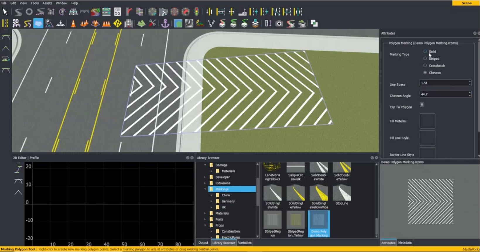 Learn how to create and edit marking polygons in RoadRunner interactive editing software.
