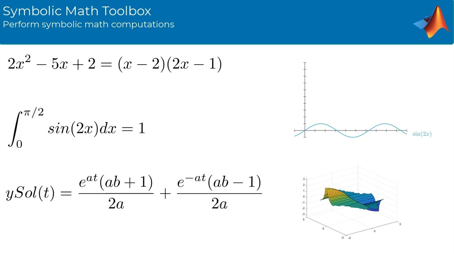 Symbolic Math Toolbox provides functions in common mathematical areas for solving, plotting, and manipulating symbolic math equations. Generate MATLAB functions, Simulink function blocks, and Simscape equations directly from symbolic expressions.